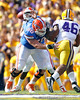 Florida redshirt senior guard Dan Wenger blocks as Jacoby Brissett passes during the first quarter of the Gators' 41-11 loss to the LSU Tigers on Saturday, October 8, 2011 at Tiger Stadium in Baton Rouge, La. / Gator Country photo by Tim Casey