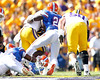 Florida sophomore safety Matt Elam tackles Alfred Blue on a 13-yard run during the first quarter of the Gators' 41-11 loss to the LSU Tigers on Saturday, October 8, 2011 at Tiger Stadium in Baton Rouge, La. / Gator Country photo by Tim Casey