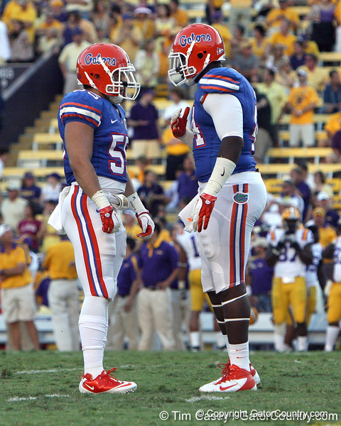 Florida freshman linebacker Graham Stewart talks with redshirt freshman defensive tackle Leon Orr before a kickoff the Gators' 41-11 loss to the LSU Tigers on Saturday, October 8, 2011 at Tiger Stadium in Baton Rouge, La. / Gator Country photo by Tim Casey