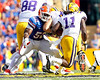 Florida junior linebacker Jonathan Bostic chases Spencer Ware during the second quarter of the Gators' 41-11 loss to the LSU Tigers on Saturday, October 8, 2011 at Tiger Stadium in Baton Rouge, La. / Gator Country photo by Tim Casey