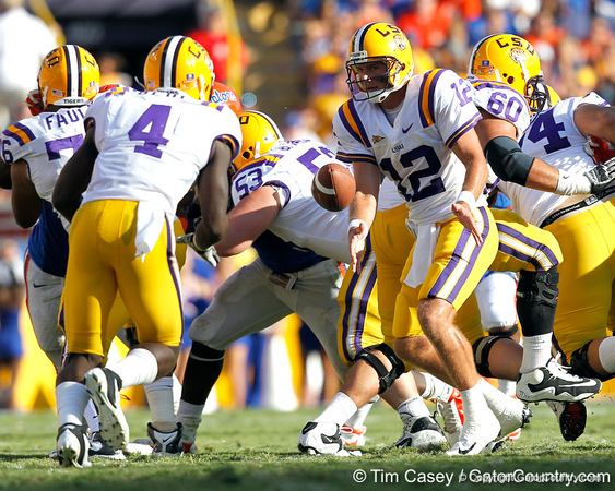 LSU quarterback Jarrett Lee pitches the ball during the third quarter of the Gators' 41-11 loss to the LSU Tigers on Saturday, October 8, 2011 at Tiger Stadium in Baton Rouge, La. / Gator Country photo by Tim Casey