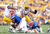 Florida redshirt sophomore linebacker Jelani Jenkins tackles Terrence Magee during the third quarter of the Gators' 41-11 loss to the LSU Tigers on Saturday, October 8, 2011 at Tiger Stadium in Baton Rouge, La. / Gator Country photo by Tim Casey