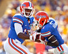 Florida freshman quarterback Jacoby Brissett hands the ball to Chris Rainey during the first quarter of the Gators' 41-11 loss to the LSU Tigers on Saturday, October 8, 2011 at Tiger Stadium in Baton Rouge, La. / Gator Country photo by Tim Casey