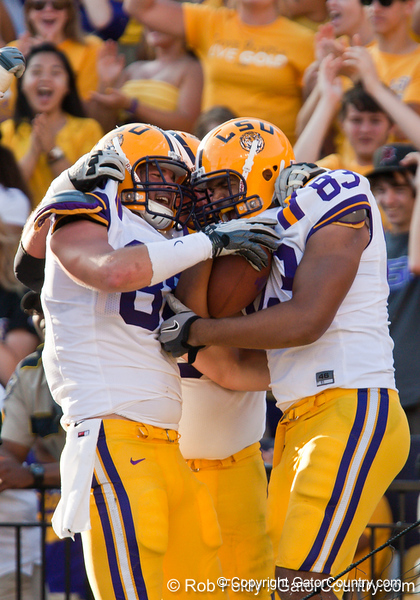 LSU players celebrate after a touchdown during the Gators' 41-11 loss to the LSU Tigers on Saturday, October 8, 2011 at Tiger Stadium in Baton Rouge, La. / Gator Country photo by Rob Foldy
