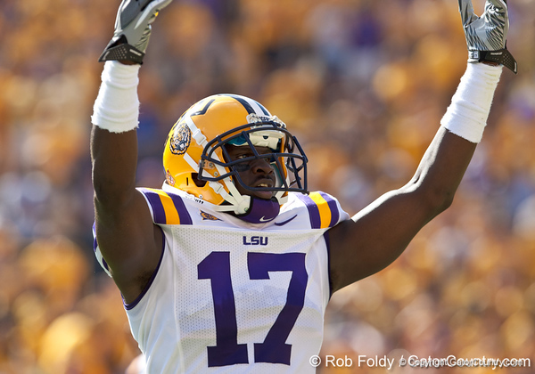 LSU cornerback Morris Claiborne pumps up the crown during the Gators' 41-11 loss to the LSU Tigers on Saturday, October 8, 2011 at Tiger Stadium in Baton Rouge, La. / Gator Country photo by Rob Foldy