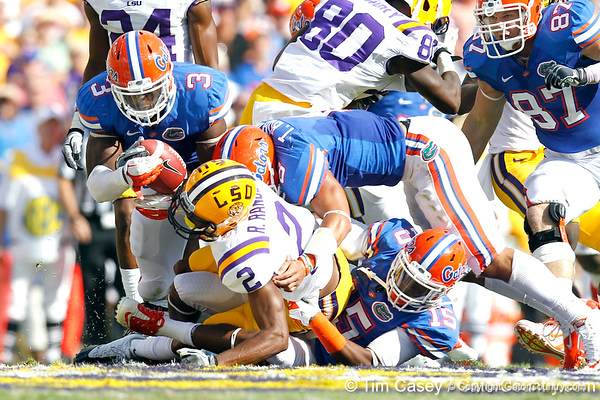 Florida freshman cornerback Loucheiz Purifoy chases Rueben Randle on a punt return during the second quarter of the Gators' 41-11 loss to the LSU Tigers on Saturday, October 8, 2011 at Tiger Stadium in Baton Rouge, La. / Gator Country photo by Tim Casey