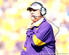 LSU coach Les Miles looks at the video board during the second quarter of the Gators' 41-11 loss to the LSU Tigers on Saturday, October 8, 2011 at Tiger Stadium in Baton Rouge, La. / Gator Country photo by Tim Casey