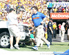 Florida head coach Will Muschamp runs onto the field before the Gators' 41-11 loss to the LSU Tigers on Saturday, October 8, 2011 at Tiger Stadium in Baton Rouge, La. / Gator Country photo by Tim Casey