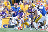 Florida redshirt sophomore receiver Andre Debose returns a kickoff 25 yards during the third quarter of the Gators' 41-11 loss to the LSU Tigers on Saturday, October 8, 2011 at Tiger Stadium in Baton Rouge, La. / Gator Country photo by Tim Casey