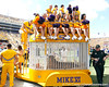 LSU cheerleaders sit atop Mike VI's cage before the Gators' 41-11 loss to the LSU Tigers on Saturday, October 8, 2011 at Tiger Stadium in Baton Rouge, La. / Gator Country photo by Tim Casey