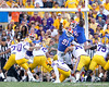 Florida redshirt junior defensive end Earl Okine and redshirt senior defensive tackle Jaye Howard attempt to block a field goal during the third quarter of the Gators' 41-11 loss to the LSU Tigers on Saturday, October 8, 2011 at Tiger Stadium in Baton Rouge, La. / Gator Country photo by Tim Casey