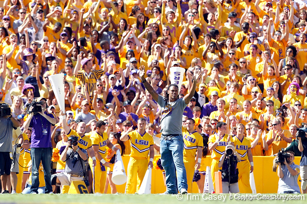 Former LSU player Chad Jones is recognized during the first quarter of the Gators' 41-11 loss to the LSU Tigers on Saturday, October 8, 2011 at Tiger Stadium in Baton Rouge, La. / Gator Country photo by Tim Casey