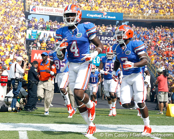 Florida redshirt sophomore receiver Andre Debose runs onto the field before the Gators' 41-11 loss to the LSU Tigers on Saturday, October 8, 2011 at Tiger Stadium in Baton Rouge, La. / Gator Country photo by Tim Casey