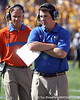 Florida head coach Will Muschamp walks along the sideline during the second quarter of the Gators' 41-11 loss to the LSU Tigers on Saturday, October 8, 2011 at Tiger Stadium in Baton Rouge, La. / Gator Country photo by Tim Casey