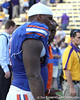 Florida sophomore defensive tackle Dominique Easley talks with defensive backs coach Travaris Robinson after the Gators' 41-11 loss to the LSU Tigers on Saturday, October 8, 2011 at Tiger Stadium in Baton Rouge, La. / Gator Country photo by Tim Casey