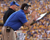 Florida head coach Will Muschamp shouts from the sideline during the fourth quarter of the Gators' 41-11 loss to the LSU Tigers on Saturday, October 8, 2011 at Tiger Stadium in Baton Rouge, La. / Gator Country photo by Tim Casey