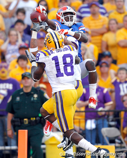 LSU cornerback Tyrann Mathieu makes an interception over Florida redshirt sophomore receiver Andre Debose during the fourth quarter of the Gators' 41-11 loss to the LSU Tigers on Saturday, October 8, 2011 at Tiger Stadium in Baton Rouge, La. / Gator Country photo by Tim Casey