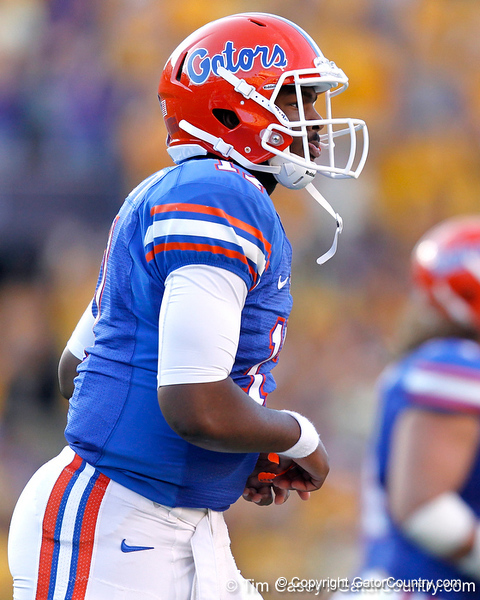 Florida freshman quarterback Jacoby Brissett returns to the sideline after throwing an interception during the fourth quarter of the Gators' 41-11 loss to the LSU Tigers on Saturday, October 8, 2011 at Tiger Stadium in Baton Rouge, La. / Gator Country photo by Tim Casey