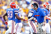 Florida head coach Will Muschamp congratulates sophomore receiver Solomon Patton after a partially blocked punt during the fourth quarter of the Gators' 41-11 loss to the LSU Tigers on Saturday, October 8, 2011 at Tiger Stadium in Baton Rouge, La. / Gator Country photo by Tim Casey