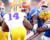 Florida senior defensive end William Green chases Terrence Magee during the third quarter of the Gators' 41-11 loss to the LSU Tigers on Saturday, October 8, 2011 at Tiger Stadium in Baton Rouge, La. / Gator Country photo by Tim Casey