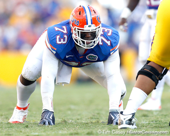 Florida sophomore defensive tackle Sharrif Floyd lines up during the third quarter of the Gators' 41-11 loss to the LSU Tigers on Saturday, October 8, 2011 at Tiger Stadium in Baton Rouge, La. / Gator Country photo by Tim Casey