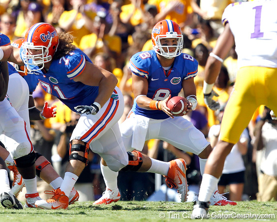 Florida sophomore running back Trey Burton looks to hand off during the first quarter of the Gators' 41-11 loss to the LSU Tigers on Saturday, October 8, 2011 at Tiger Stadium in Baton Rouge, La. / Gator Country photo by Tim Casey