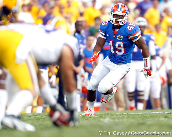 Florida sophomore linebacker Darrin Kitchens runs on kickoff coverage during the second quarter of the Gators' 41-11 loss to the LSU Tigers on Saturday, October 8, 2011 at Tiger Stadium in Baton Rouge, La. / Gator Country photo by Tim Casey
