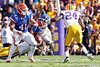 Florida freshman fullback Hunter Joyer blocks as Chris Rainey gets tackled during the second quarter of the Gators' 41-11 loss to the LSU Tigers on Saturday, October 8, 2011 at Tiger Stadium in Baton Rouge, La. / Gator Country photo by Tim Casey