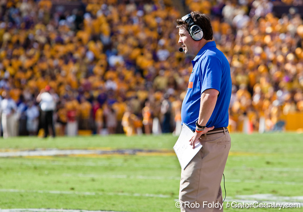 Florida head coach Will Muschamp during the Gators' 41-11 loss to the LSU Tigers on Saturday, October 8, 2011 at Tiger Stadium in Baton Rouge, La. / Gator Country photo by Rob Foldy