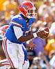 Florida freshman quarterback Jacoby Brissett fakes a handoff during the first quarter of the Gators' 41-11 loss to the LSU Tigers on Saturday, October 8, 2011 at Tiger Stadium in Baton Rouge, La. / Gator Country photo by Tim Casey