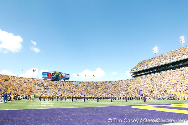 The LSU band performs before the Gators' 41-11 loss to the LSU Tigers on Saturday, October 8, 2011 at Tiger Stadium in Baton Rouge, La. / Gator Country photo by Tim Casey