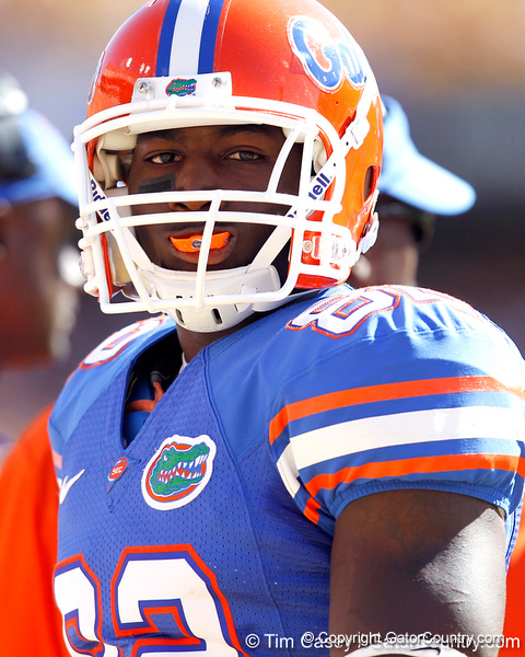 Florida redshirt junior receiver Omarius Hines watches from the sideline during the first quarter of the Gators' 41-11 loss to the LSU Tigers on Saturday, October 8, 2011 at Tiger Stadium in Baton Rouge, La. / Gator Country photo by Tim Casey