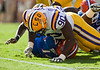 LSU defensive tackle Michael Brockers tackles Florida freshman quarterback Jacoby Brissett during the Gators' 41-11 loss to the LSU Tigers on Saturday, October 8, 2011 at Tiger Stadium in Baton Rouge, La. / Gator Country photo by Rob Foldy