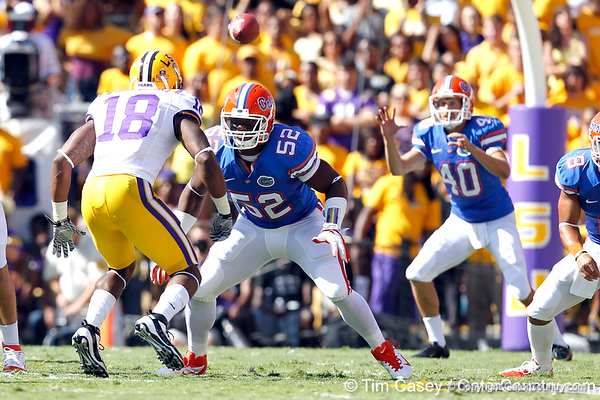 Florida junior linebacker Jonathan Bostic blocks for a punt during the first quarter of the Gators' 41-11 loss to the LSU Tigers on Saturday, October 8, 2011 at Tiger Stadium in Baton Rouge, La. / Gator Country photo by Tim Casey