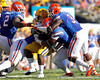 Florida sophomore safety Matt Elam and redshirt junior defensive end Lerentee McCray tackle Spencer Ware during the third quarter of the Gators' 41-11 loss to the LSU Tigers on Saturday, October 8, 2011 at Tiger Stadium in Baton Rouge, La. / Gator Country photo by Tim Casey