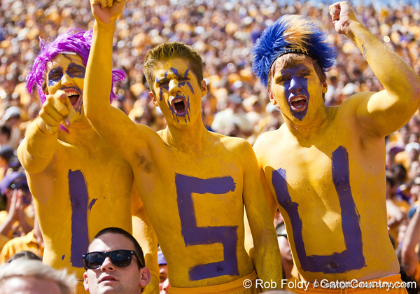 LSU fans cheer before the Gators' 41-11 loss to the LSU Tigers on Saturday, October 8, 2011 at Tiger Stadium in Baton Rouge, La. / Gator Country photo by Rob Foldy