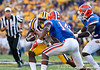 LSU running back Alfred Blue attempts to shake Florida sophomore cornerback Jaylen Watkins during the Gators' 41-11 loss to the LSU Tigers on Saturday, October 8, 2011 at Tiger Stadium in Baton Rouge, La. / Gator Country photo by Rob Foldy