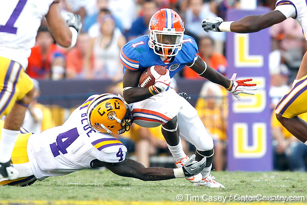 Florida redshirt senior running back Chris Rainey returns a punt seven yards during the third quarter of the Gators' 41-11 loss to the LSU Tigers on Saturday, October 8, 2011 at Tiger Stadium in Baton Rouge, La. / Gator Country photo by Tim Casey