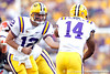 LSU quarterback Jarrett Lee hands off the ball during the third quarter of the Gators' 41-11 loss to the LSU Tigers on Saturday, October 8, 2011 at Tiger Stadium in Baton Rouge, La. / Gator Country photo by Tim Casey