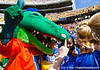 Florida mascot Albert poses with fans before the Gators' 41-11 loss to the LSU Tigers on Saturday, October 8, 2011 at Tiger Stadium in Baton Rouge, La. / Gator Country photo by Rob Foldy