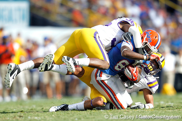 Florida redshirt junior receiver Frankie Hammond Jr. gains 14 yards on a pass during the second quarter of the Gators' 41-11 loss to the LSU Tigers on Saturday, October 8, 2011 at Tiger Stadium in Baton Rouge, La. / Gator Country photo by Tim Casey