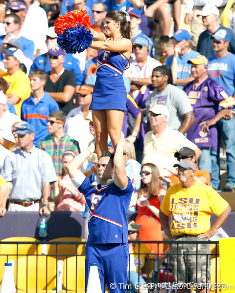 Florida cheerleaders perform during the second quarter of the Gators' 41-11 loss to the LSU Tigers on Saturday, October 8, 2011 at Tiger Stadium in Baton Rouge, La. / Gator Country photo by Tim Casey