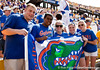 Florida fans hold up a team flag before the Gators' 41-11 loss to the LSU Tigers on Saturday, October 8, 2011 at Tiger Stadium in Baton Rouge, La. / Gator Country photo by Rob Foldy