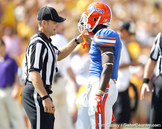 Florida redshirt senior running back Chris Rainey talks with an official before the Gators' 41-11 loss to the LSU Tigers on Saturday, October 8, 2011 at Tiger Stadium in Baton Rouge, La. / Gator Country photo by Tim Casey