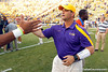 LSU receivers coach Billy Gonzales shakes hands with Jordan Reed after the Gators' 41-11 loss to the LSU Tigers on Saturday, October 8, 2011 at Tiger Stadium in Baton Rouge, La. / Gator Country photo by Tim Casey