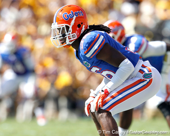 Florida redshirt senior cornerback Moses Jenkins lines up during the first quarter of the Gators' 41-11 loss to the LSU Tigers on Saturday, October 8, 2011 at Tiger Stadium in Baton Rouge, La. / Gator Country photo by Tim Casey\