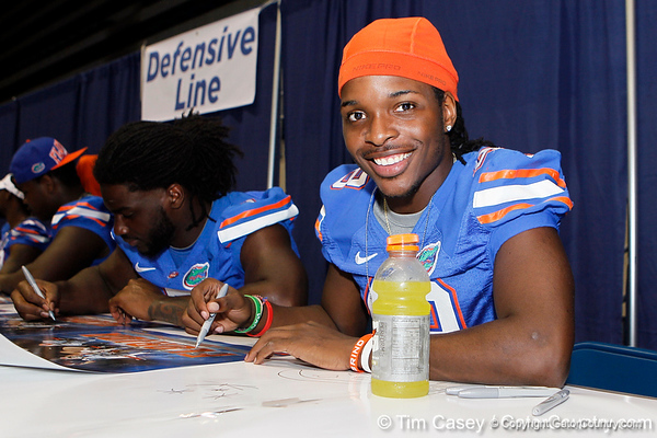 Florida sophomore linebacker Neiron Ball poses for a photo during the Gators' annual Fan Day event on Saturday, August 20, 2011 at the Stephen C. O'Connell Center in Gainesville, Fla. / Gator Country photo by Tim Casey