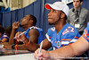Florida sophomore running back Deandre Goins talks with a fan during the Gators' annual Fan Day event on Saturday, August 20, 2011 at the Stephen C. O'Connell Center in Gainesville, Fla. / Gator Country photo by Tim Casey