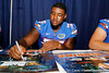Florida redshirt freshman tackle Chaz Green signs an autograph during the Gators' annual Fan Day event on Saturday, August 20, 2011 at the Stephen C. O'Connell Center in Gainesville, Fla. / Gator Country photo by Tim Casey