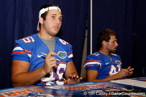 Florida sophomore longsnapper Drew Ferris talks with a fan during the Gators' annual Fan Day event on Saturday, August 20, 2011 at the Stephen C. O'Connell Center in Gainesville, Fla. / Gator Country photo by Tim Casey